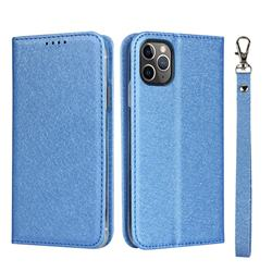 Ultra Slim Magnetic Automatic Suction Silk Lanyard Leather Flip Cover for iPhone 11 Pro (5.8 inch) - Sky Blue