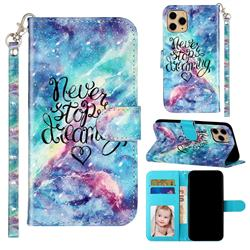 Blue Starry Sky 3D Leather Phone Holster Wallet Case for iPhone 11 Pro (5.8 inch)