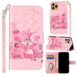 Pink Bear 3D Leather Phone Holster Wallet Case for iPhone 11 Pro (5.8 inch)
