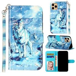 Snow Wolf 3D Leather Phone Holster Wallet Case for iPhone 11 Pro (5.8 inch)