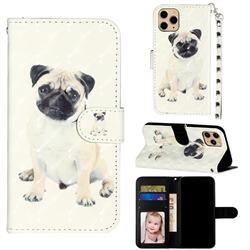 Pug Dog 3D Leather Phone Holster Wallet Case for iPhone 11 Pro (5.8 inch)