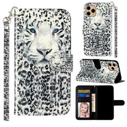 White Leopard 3D Leather Phone Holster Wallet Case for iPhone 11 Pro (5.8 inch)