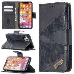 BinfenColor BF04 Color Block Stitching Crocodile Leather Case Cover for iPhone 11 Pro (5.8 inch) - Black