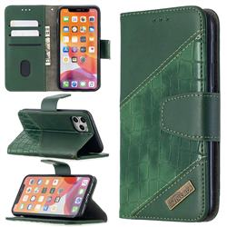 BinfenColor BF04 Color Block Stitching Crocodile Leather Case Cover for iPhone 11 Pro (5.8 inch) - Green