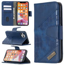 BinfenColor BF04 Color Block Stitching Crocodile Leather Case Cover for iPhone 11 Pro (5.8 inch) - Blue