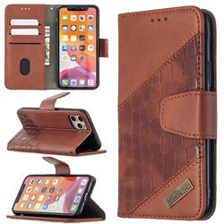BinfenColor BF04 Color Block Stitching Crocodile Leather Case Cover for iPhone 11 Pro (5.8 inch) - Brown