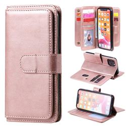 Multi-function Ten Card Slots and Photo Frame PU Leather Wallet Phone Case Cover for iPhone 11 Pro (5.8 inch) - Rose Gold