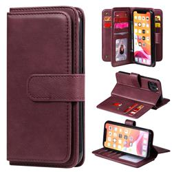 Multi-function Ten Card Slots and Photo Frame PU Leather Wallet Phone Case Cover for iPhone 11 Pro (5.8 inch) - Claret