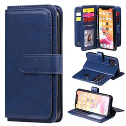 Multi-function Ten Card Slots and Photo Frame PU Leather Wallet Phone Case Cover for iPhone 11 Pro (5.8 inch) - Dark Blue