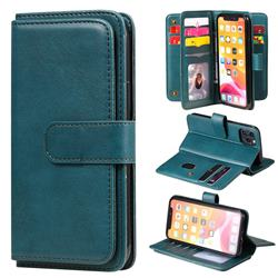 Multi-function Ten Card Slots and Photo Frame PU Leather Wallet Phone Case Cover for iPhone 11 Pro (5.8 inch) - Dark Green