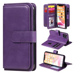 Multi-function Ten Card Slots and Photo Frame PU Leather Wallet Phone Case Cover for iPhone 11 Pro (5.8 inch) - Violet