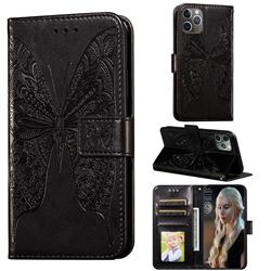 Intricate Embossing Vivid Butterfly Leather Wallet Case for iPhone 11 Pro (5.8 inch) - Black