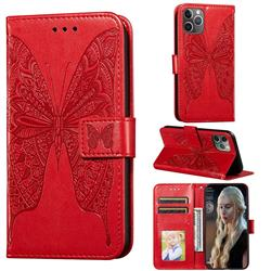 Intricate Embossing Vivid Butterfly Leather Wallet Case for iPhone 11 Pro (5.8 inch) - Red
