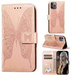 Intricate Embossing Vivid Butterfly Leather Wallet Case for iPhone 11 Pro (5.8 inch) - Rose Gold