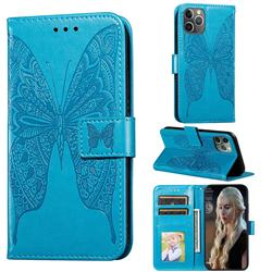 Intricate Embossing Vivid Butterfly Leather Wallet Case for iPhone 11 Pro (5.8 inch) - Blue