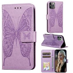 Intricate Embossing Vivid Butterfly Leather Wallet Case for iPhone 11 Pro (5.8 inch) - Purple
