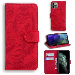 Intricate Embossing Tiger Face Leather Wallet Case for iPhone 11 Pro (5.8 inch) - Red