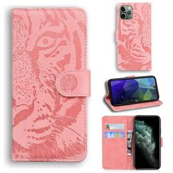 Intricate Embossing Tiger Face Leather Wallet Case for iPhone 11 Pro (5.8 inch) - Pink