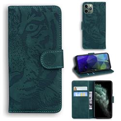 Intricate Embossing Tiger Face Leather Wallet Case for iPhone 11 Pro (5.8 inch) - Green