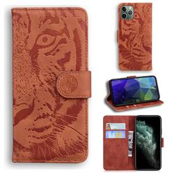 Intricate Embossing Tiger Face Leather Wallet Case for iPhone 11 Pro (5.8 inch) - Brown
