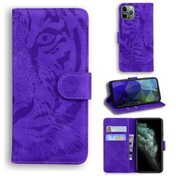 Intricate Embossing Tiger Face Leather Wallet Case for iPhone 11 Pro (5.8 inch) - Purple