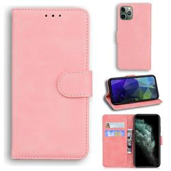 Retro Classic Skin Feel Leather Wallet Phone Case for iPhone 11 Pro (5.8 inch) - Pink