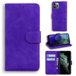 Retro Classic Skin Feel Leather Wallet Phone Case for iPhone 11 Pro (5.8 inch) - Purple
