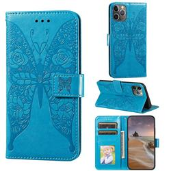 Intricate Embossing Rose Flower Butterfly Leather Wallet Case for iPhone 11 Pro (5.8 inch) - Blue