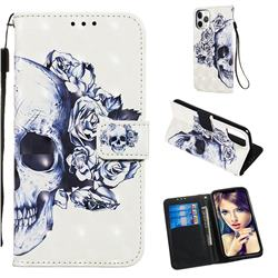 Skull Flower 3D Painted Leather Wallet Case for iPhone 11 Pro (5.8 inch)