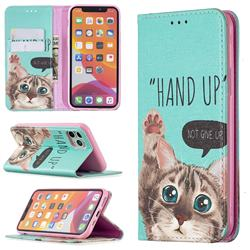 Hand Up Cat Slim Magnetic Attraction Wallet Flip Cover for iPhone 11 Pro (5.8 inch)