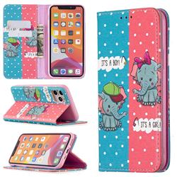 Elephant Boy and Girl Slim Magnetic Attraction Wallet Flip Cover for iPhone 11 Pro (5.8 inch)