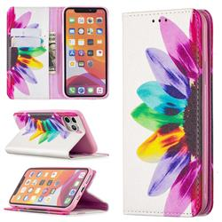 Sun Flower Slim Magnetic Attraction Wallet Flip Cover for iPhone 11 Pro (5.8 inch)