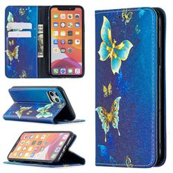 Gold Butterfly Slim Magnetic Attraction Wallet Flip Cover for iPhone 11 Pro (5.8 inch)