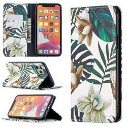 Flower Leaf Slim Magnetic Attraction Wallet Flip Cover for iPhone 11 Pro (5.8 inch)