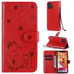 Embossing Bee and Cat Leather Wallet Case for iPhone 11 Pro (5.8 inch) - Red