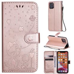 Embossing Bee and Cat Leather Wallet Case for iPhone 11 Pro (5.8 inch) - Rose Gold