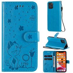 Embossing Bee and Cat Leather Wallet Case for iPhone 11 Pro (5.8 inch) - Blue