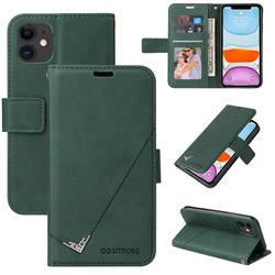 GQ.UTROBE Right Angle Silver Pendant Leather Wallet Phone Case for iPhone 11 Pro (5.8 inch) - Green