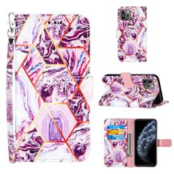 Dream Purple Stitching Color Marble Leather Wallet Case for iPhone 11 Pro (5.8 inch)