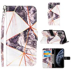 Black and White Stitching Color Marble Leather Wallet Case for iPhone 11 Pro (5.8 inch)