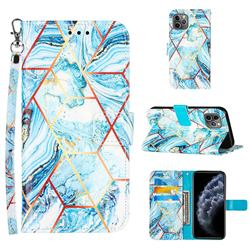 Lake Blue Stitching Color Marble Leather Wallet Case for iPhone 11 Pro (5.8 inch)