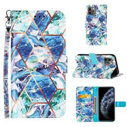 Green and Blue Stitching Color Marble Leather Wallet Case for iPhone 11 Pro (5.8 inch)