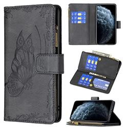 Binfen Color Imprint Vivid Butterfly Buckle Zipper Multi-function Leather Phone Wallet for iPhone 11 Pro (5.8 inch) - Black