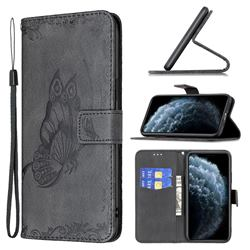 Binfen Color Imprint Vivid Butterfly Leather Wallet Case for iPhone 11 Pro (5.8 inch) - Black
