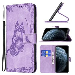 Binfen Color Imprint Vivid Butterfly Leather Wallet Case for iPhone 11 Pro (5.8 inch) - Purple