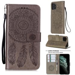 Embossing Dream Catcher Mandala Flower Leather Wallet Case for iPhone 11 Pro (5.8 inch) - Gray