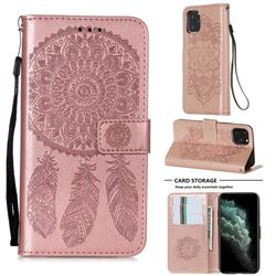 Embossing Dream Catcher Mandala Flower Leather Wallet Case for iPhone 11 Pro (5.8 inch) - Rose Gold