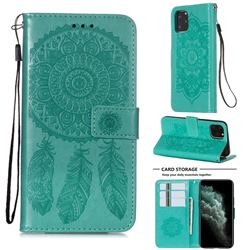Embossing Dream Catcher Mandala Flower Leather Wallet Case for iPhone 11 Pro (5.8 inch) - Green