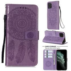 Embossing Dream Catcher Mandala Flower Leather Wallet Case for iPhone 11 Pro (5.8 inch) - Purple