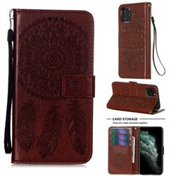 Embossing Dream Catcher Mandala Flower Leather Wallet Case for iPhone 11 Pro (5.8 inch) - Brown